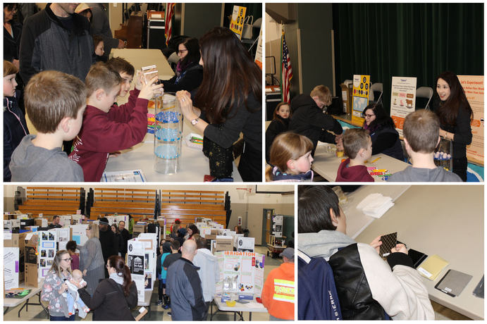 A collection of photos showing kids at a STEM showcase