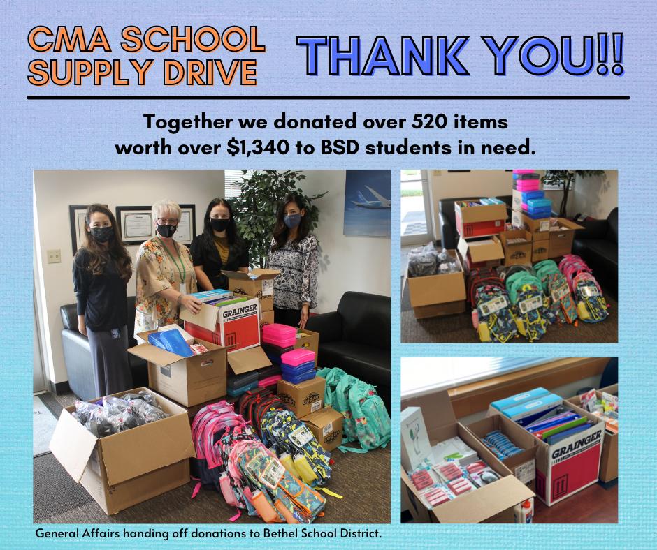 Annual Bethel School District Supply Drive Tacoma (TA) Plant & Headquarter (HQ)