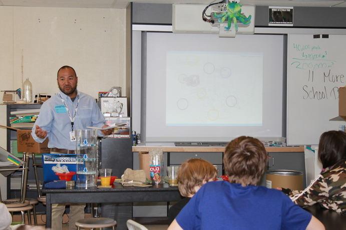 A teacher in front of a class of children