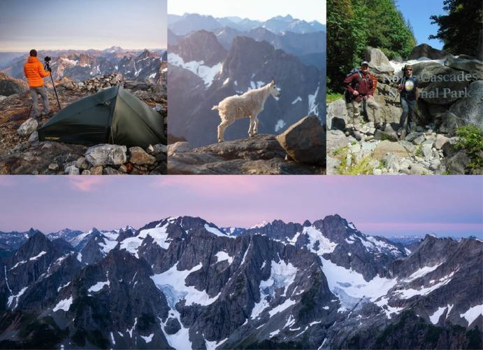 Photos of mountains, animals and people