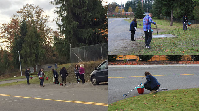 A group of photos of people cleaning up trash